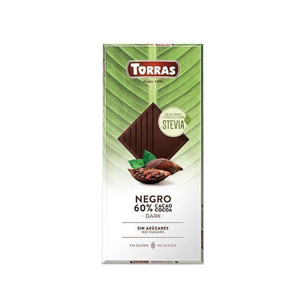 Dark chocolate 60% cocoa with stevia - 100g