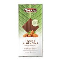 Chocolate stevia milk and almonds tablet - 125g
